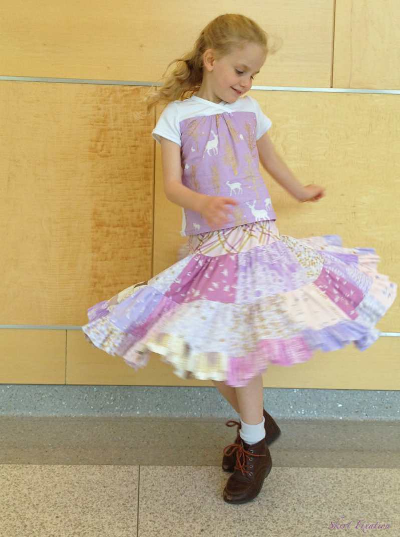 Patchwork Twirl Skirt sewn by Skirt Fixation with Oliver+S Hopscotch Top