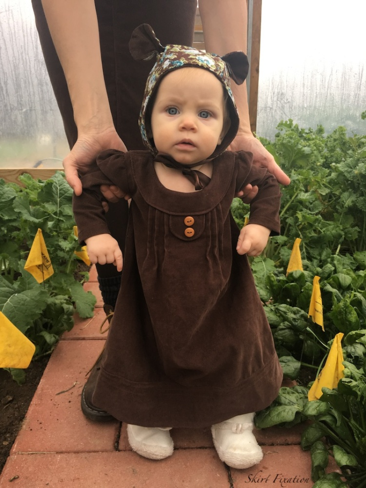 Corduroy skirt sewn by Skirt Fixation.  Check out the corduroy baby dress and bonnet too!