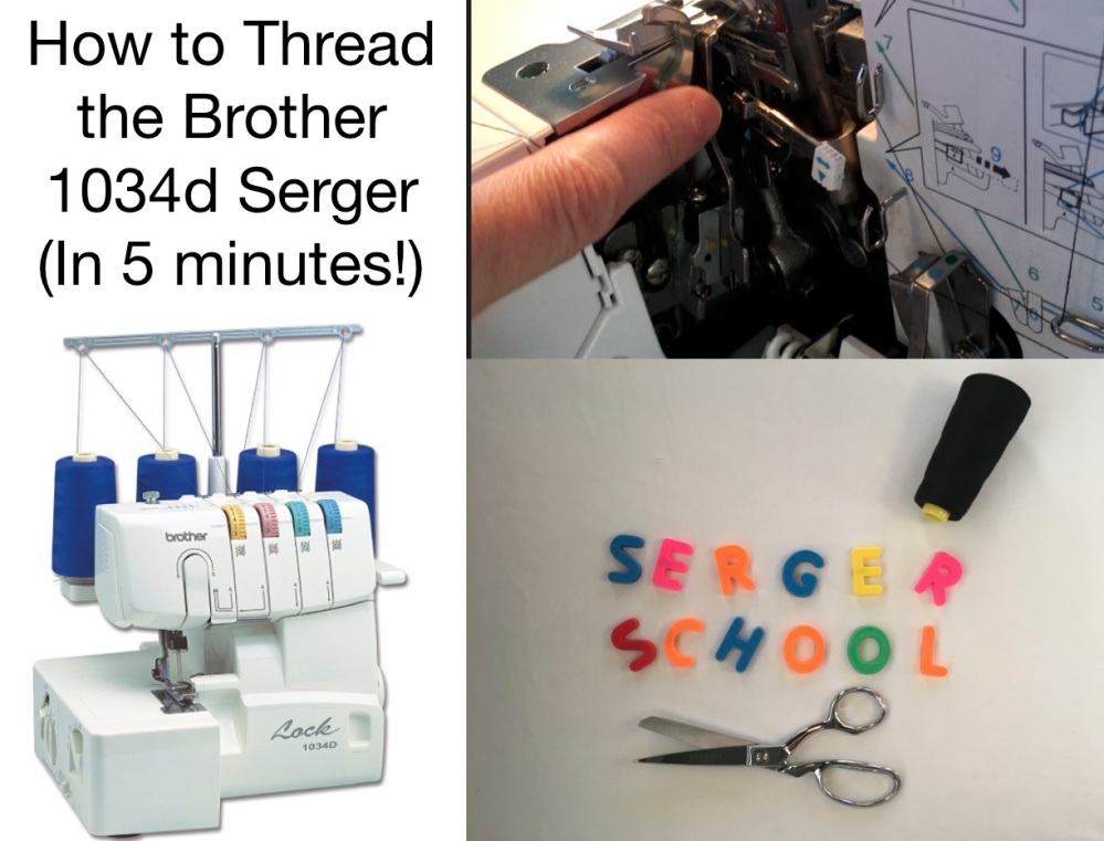 How to thread the Brother 1034d serger video tutorial from Skirt Fixation