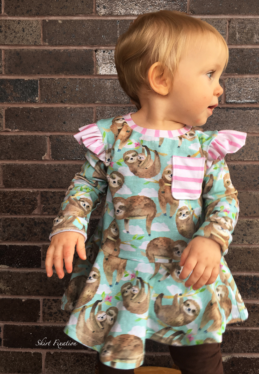 Sloth Peplum sewn for a baby by Skirt Fixation