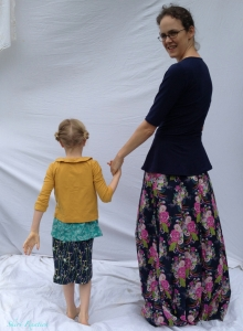 Mother & Daughter Art Gallery Fabrics outfits sewn by Skirt Fixation