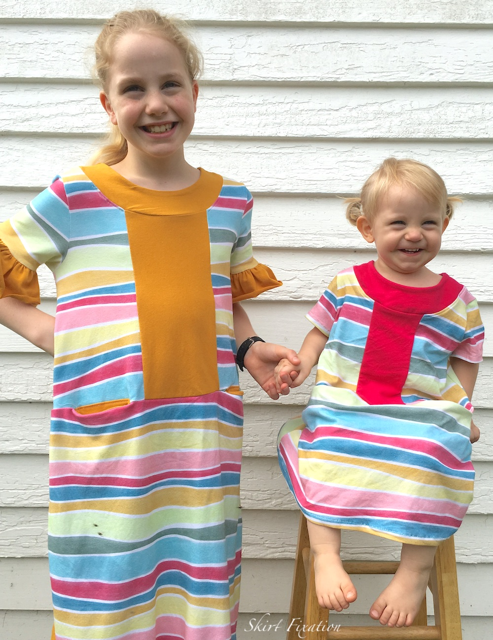 Knit summer dressed for girls sewn by Skirt Fixation