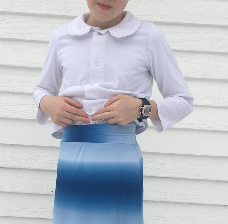 Girl's ombre maxi skirt sewn by Skirt Fixation