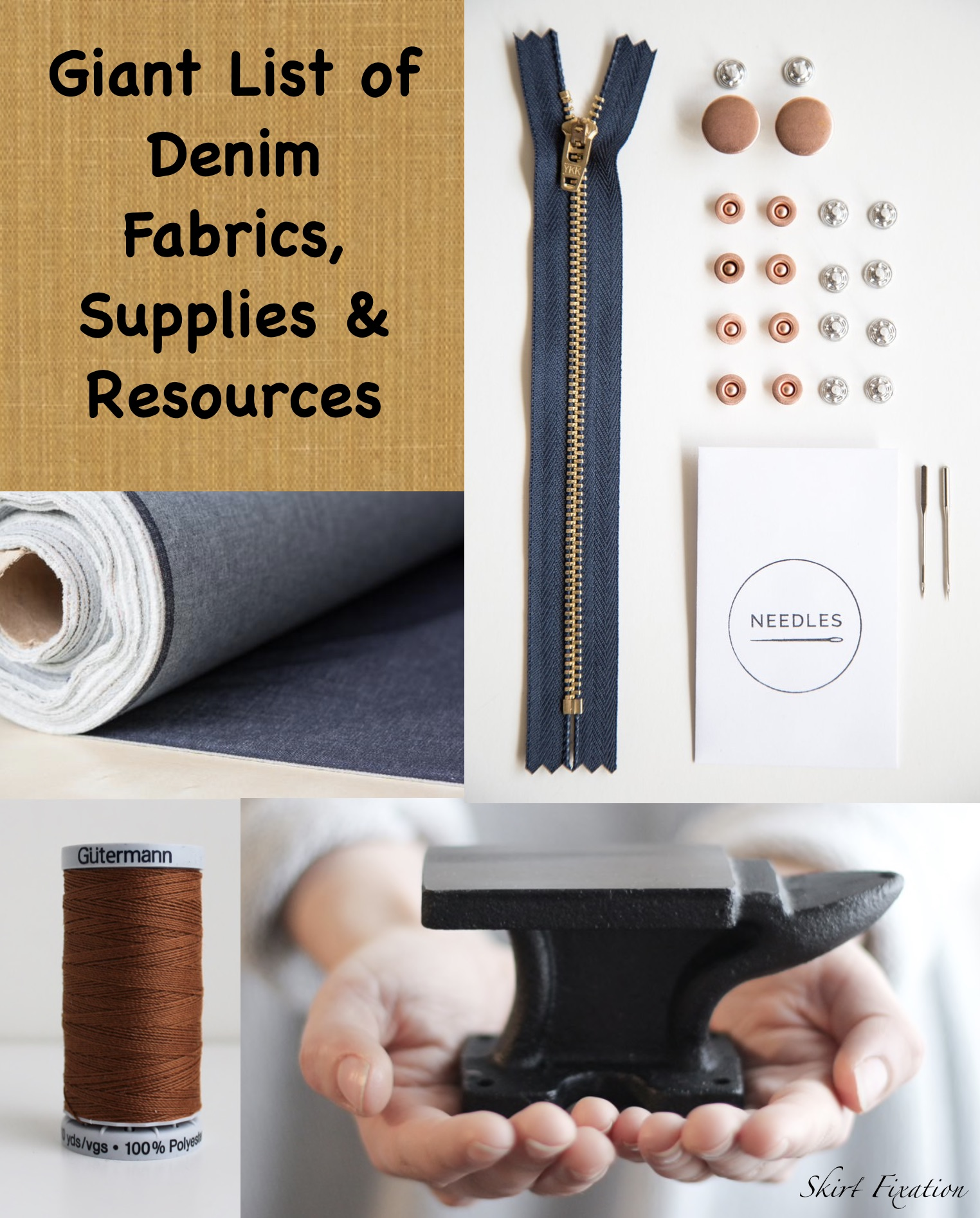 Giant list of denim fabric, supplies and resources compiled by Skirt Fixation