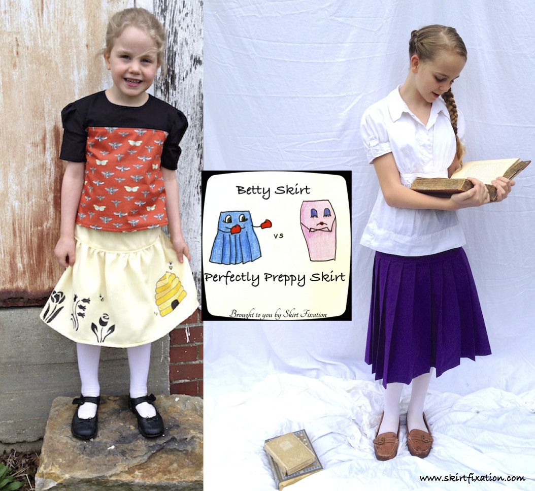 A through comparison by Skirt Fixation of the Betty Skirt by Shaffer Sisters and the Perfectly Preppy Skirt by Scientific Seamstress.