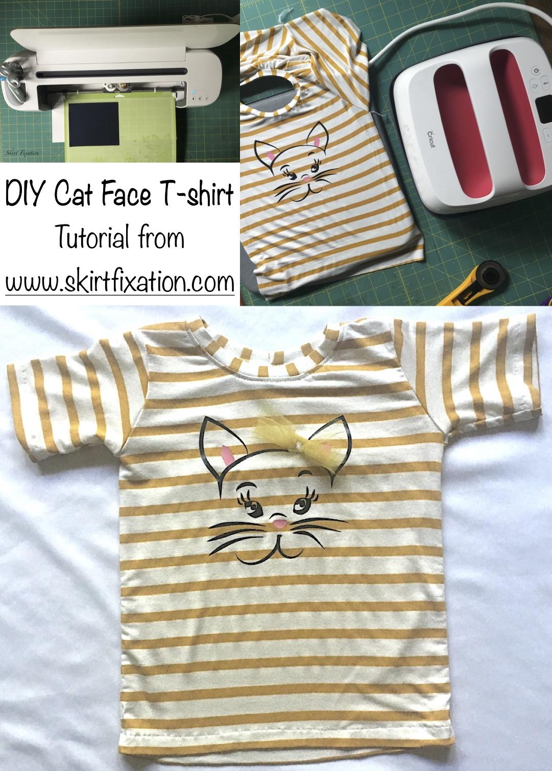 DIY Cat Face T-shirt tutorial from Skirt Fixation