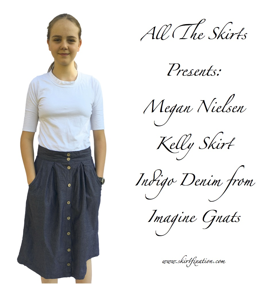 Kelly Skirt sewn by Skirt Fixation in Indigo Denim