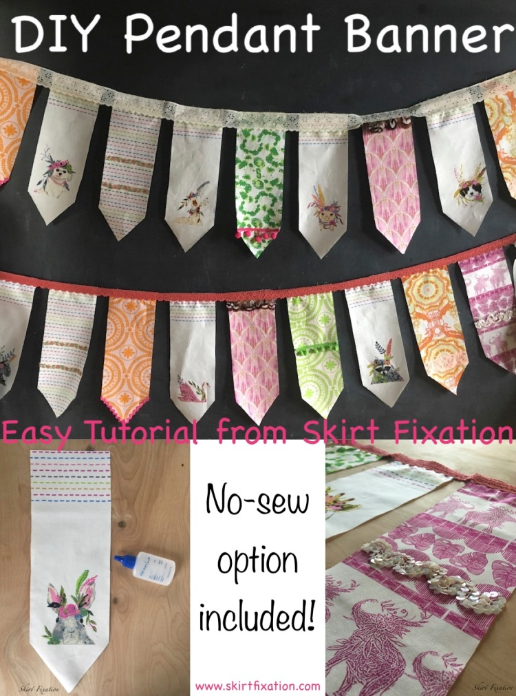 DIY pendant banner tutorial from Skirt Fixation with a NO SEW option!