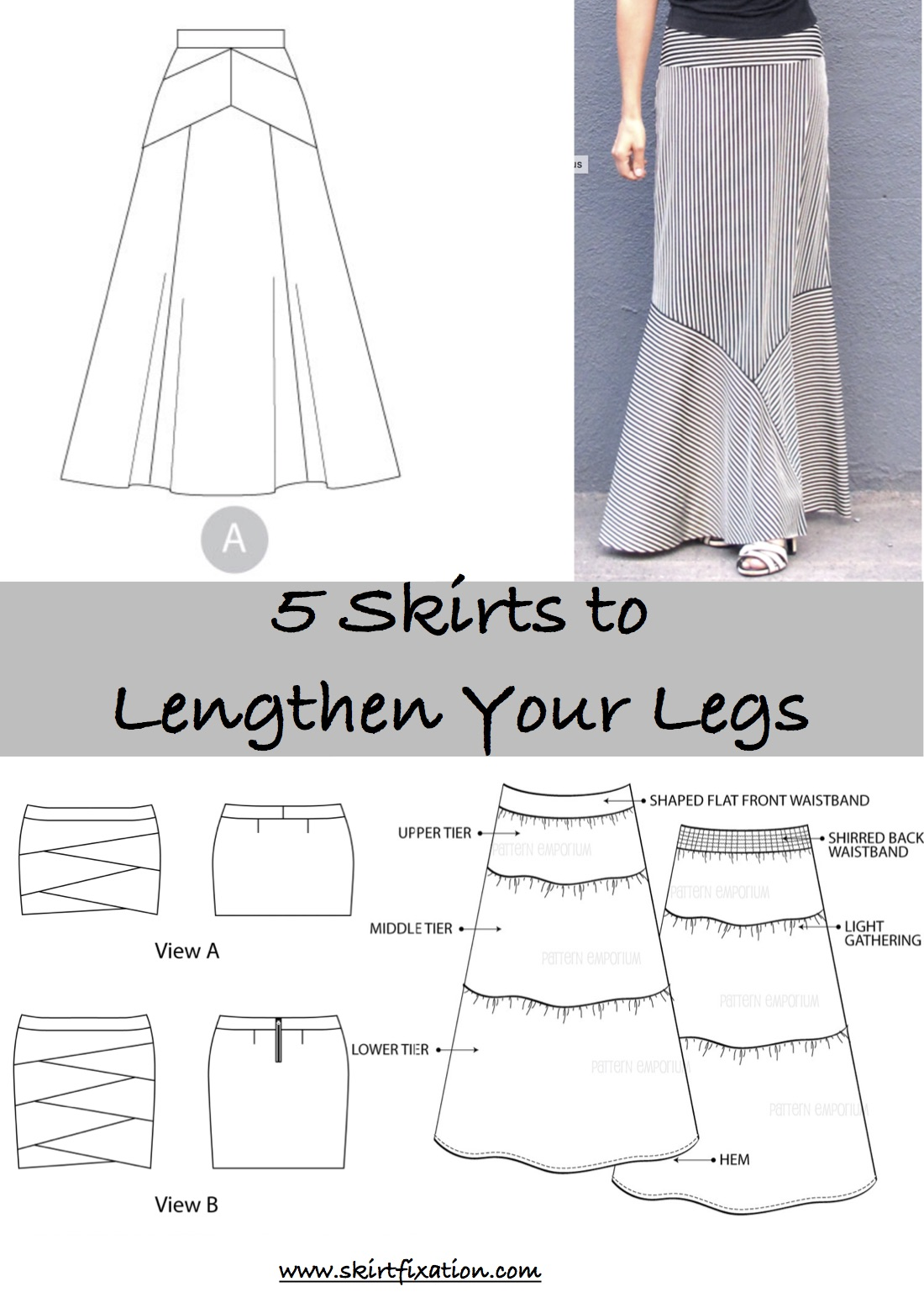 5 skirt patterns to lengthen your legs!