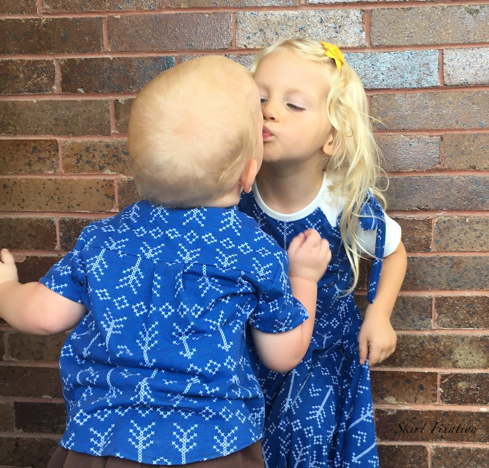 Coordinating Brother/Sister outfits sewn by Skirt Fixation