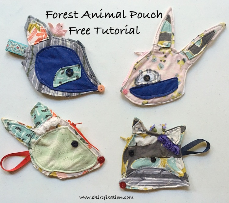 Free tutorial to make Forest Animal Pouches from Skirt Fixation