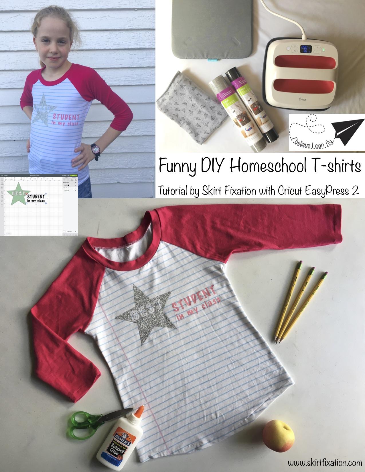Funny DIY Homeschool t-shirt tutorial by Skirt Fixation