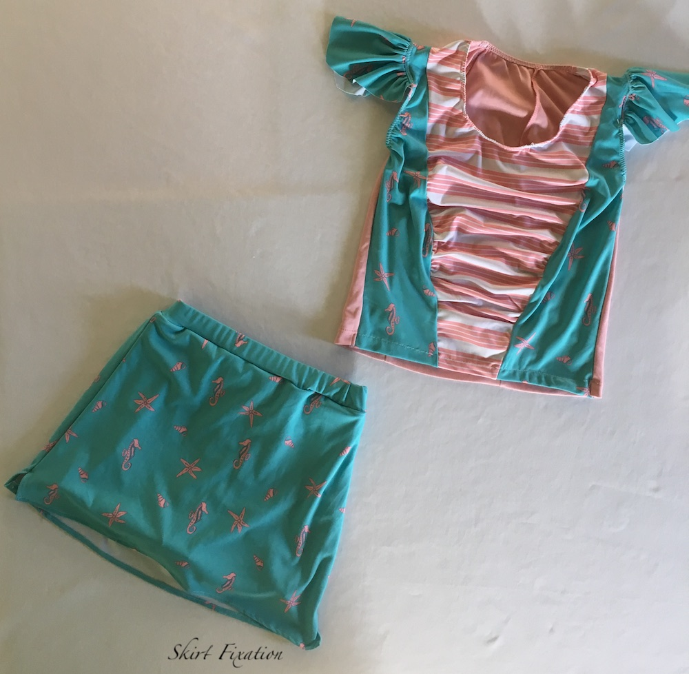 Fun nautical swimsuit for girls sewn by Skirt Fixation