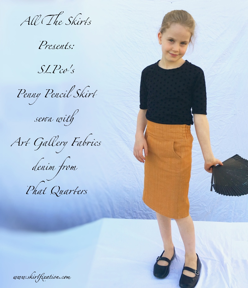 Penny Pencil Skirt sewn by Skirt Fixation using Art Gallery Fabrics denim from Phat Quarters. A perfect denim skirt for a little girl!