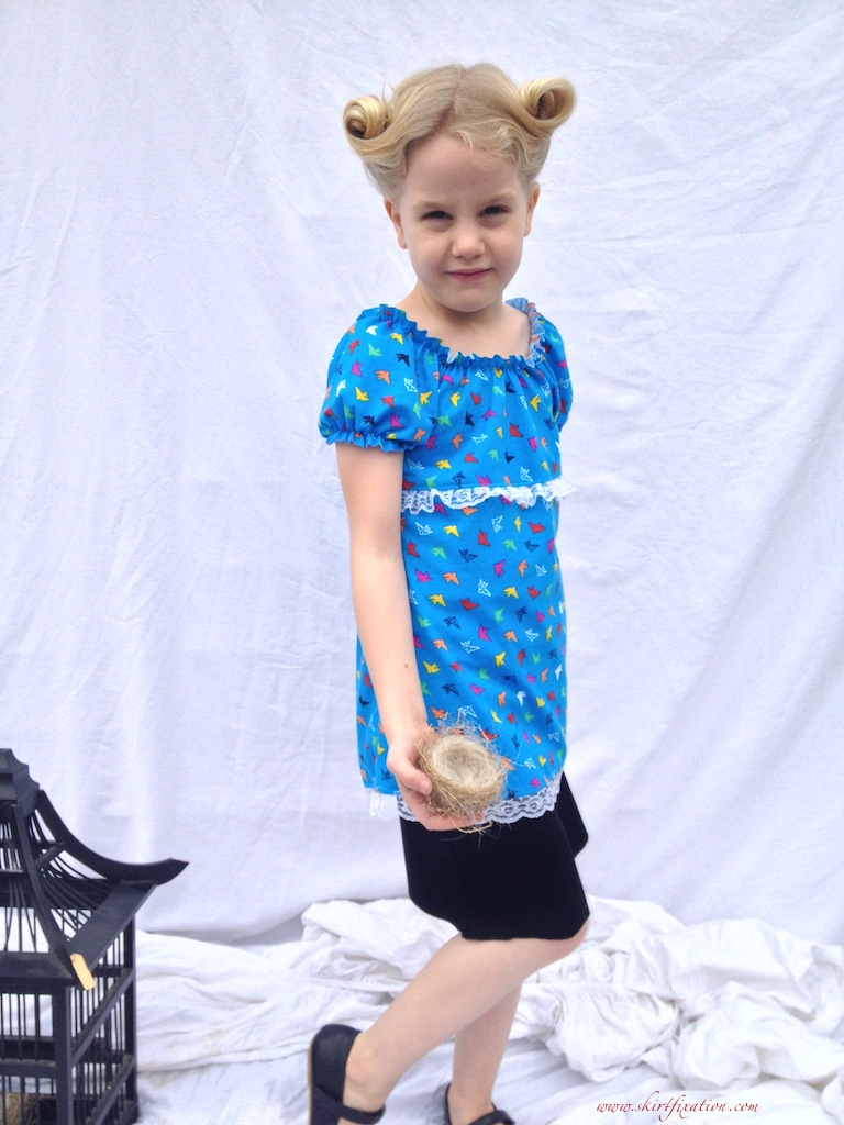 Girl Charlee's first sewing pattern, sewn by Skirt Fixation