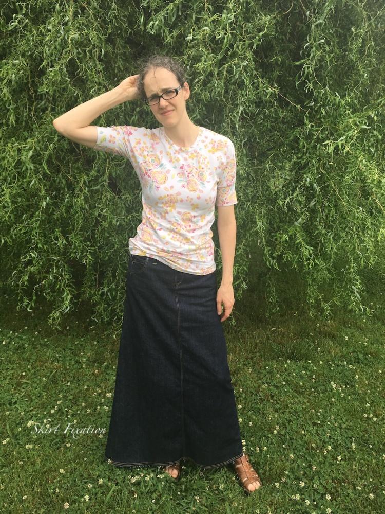 Denim skirt sewn by Skirt Fixation