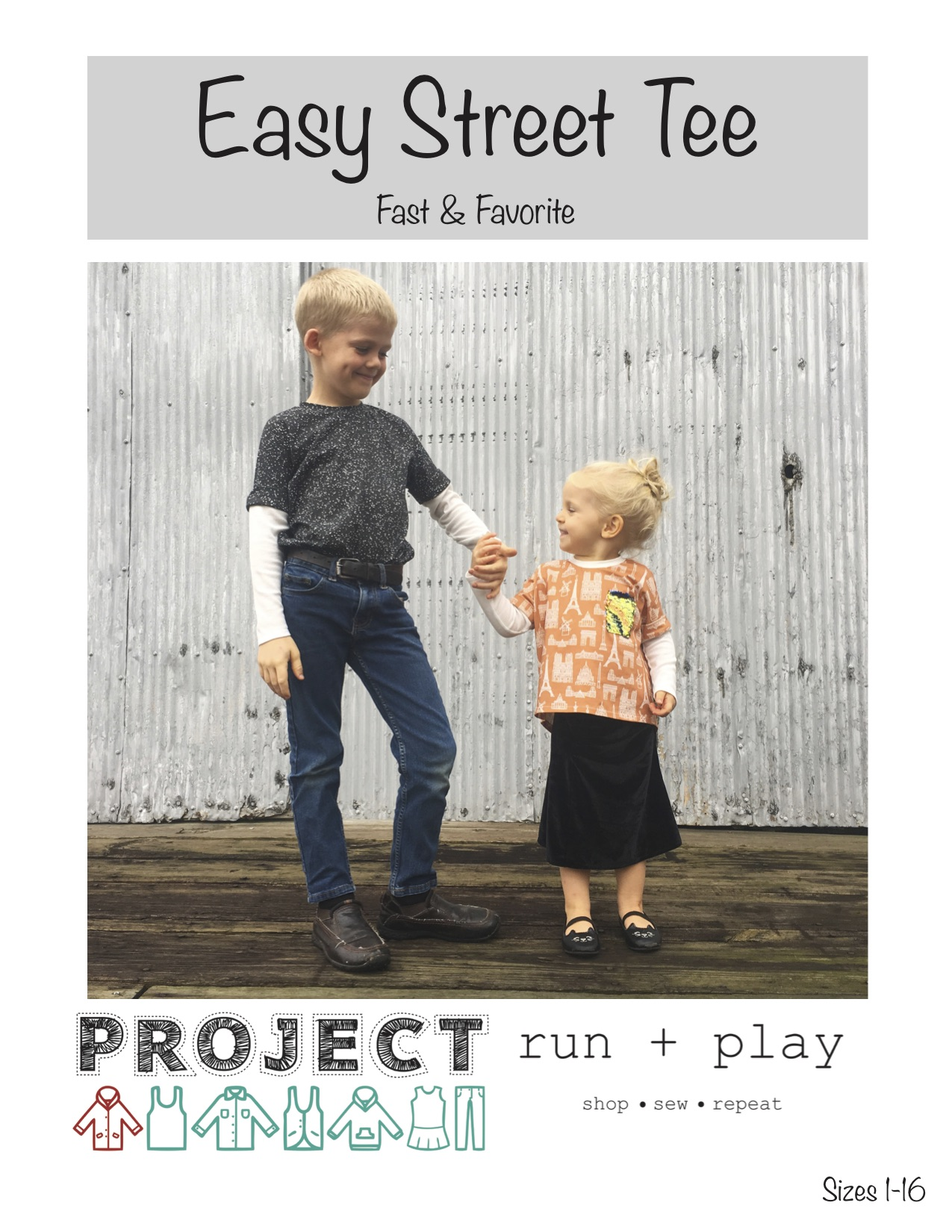 Easy Street Tee designed, sewn and reviewed by Skirt Fixation for Project Street Style at Project Run & Play.
