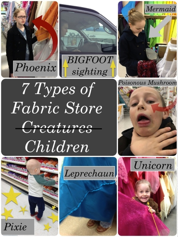7 types of fabric store creatures/children!