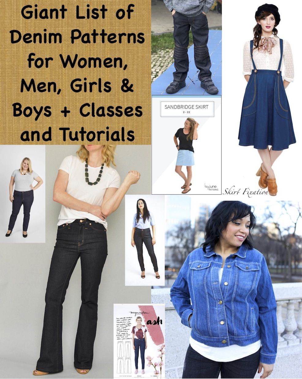 Giant List of denim pattern for women, men, girls, boys, classes and tutorials compiled by Skirt Fixation