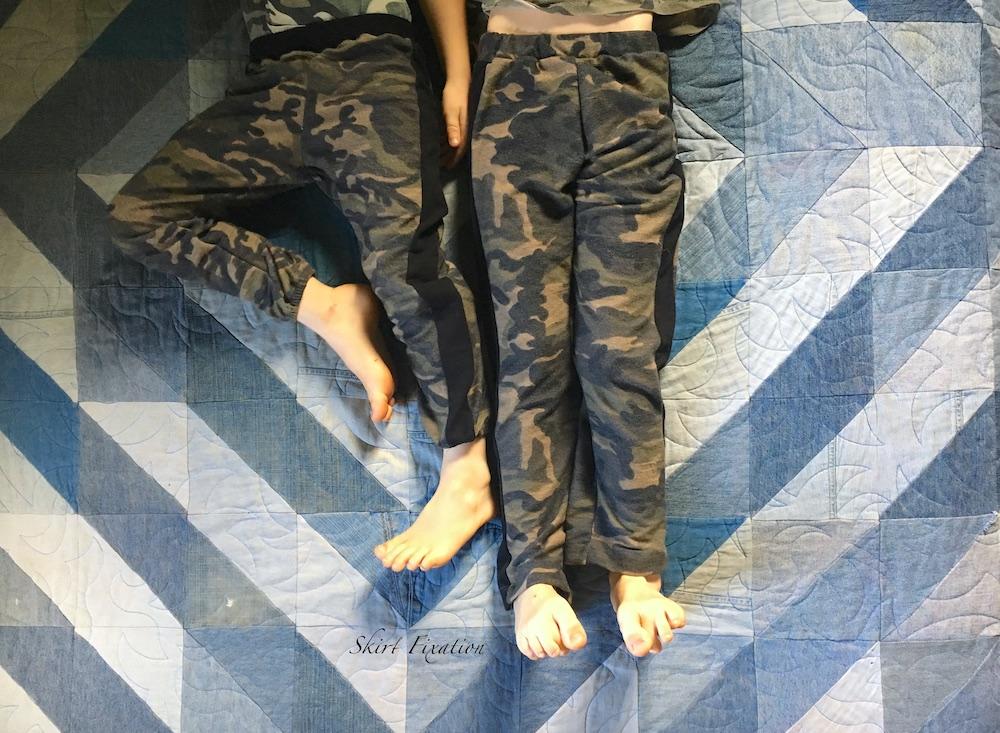 Camo pajama pants sewn by Skirt Fixation