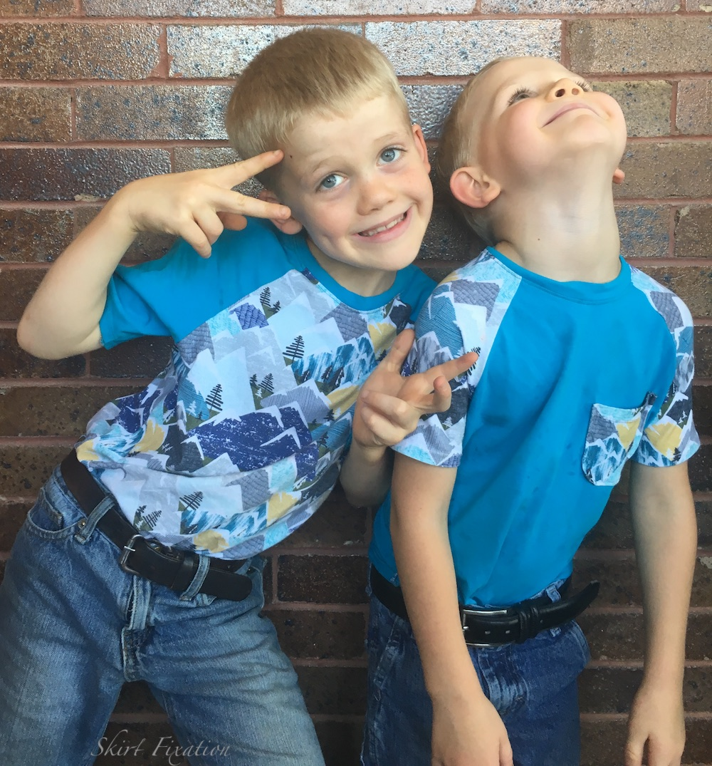 Boys in coordinating mountain shirts sewn by Skirt Fixation
