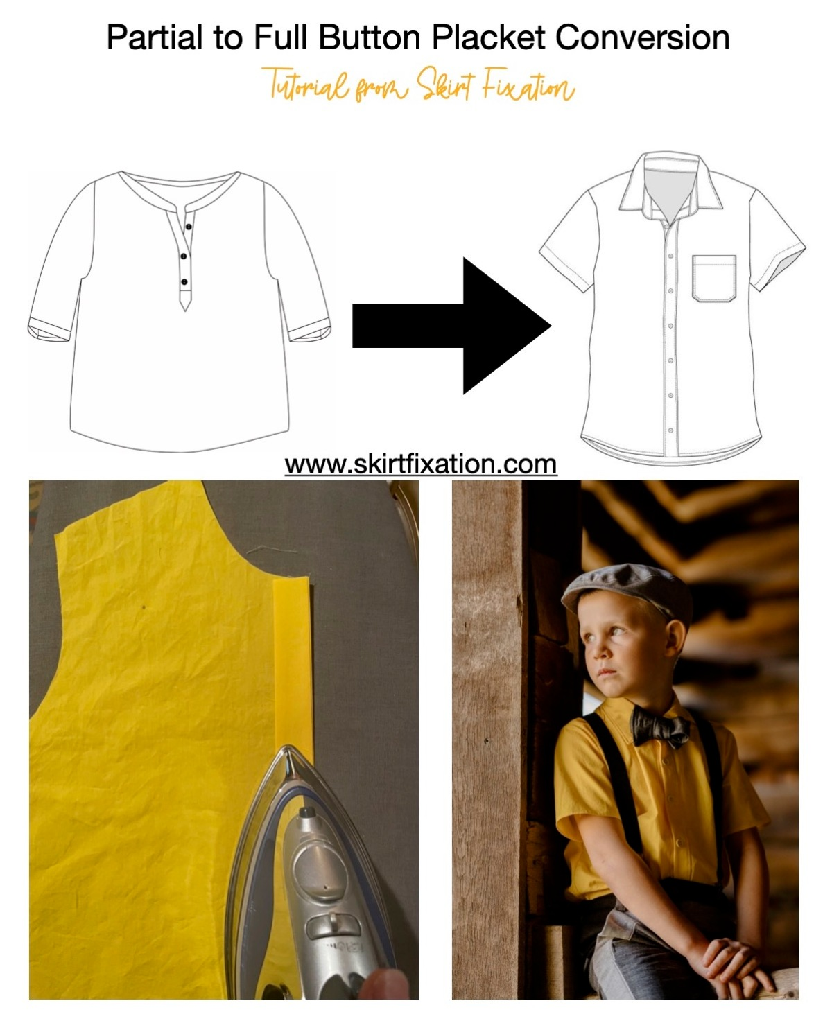 Partial to full button placket tutorial from Skirt Fixation