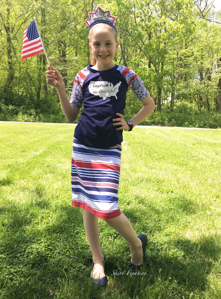 Patriotic fabric parade created and sewn by Skirt Fixation