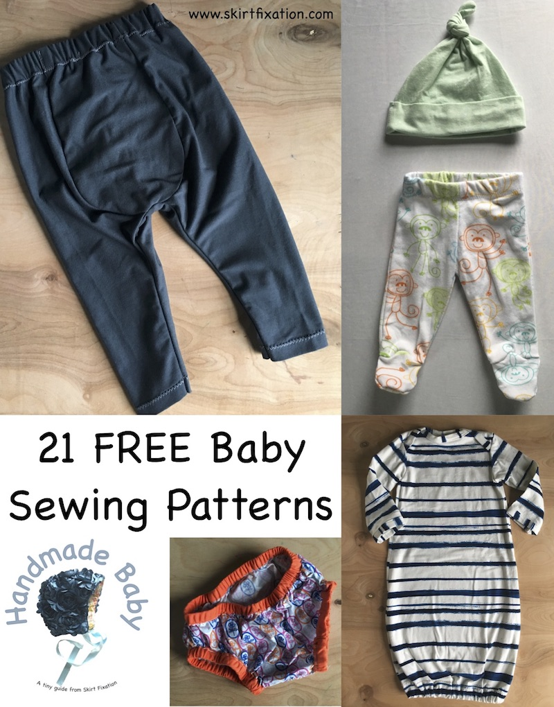 21 FREE baby sewing patterns collected by Skirt Fixation