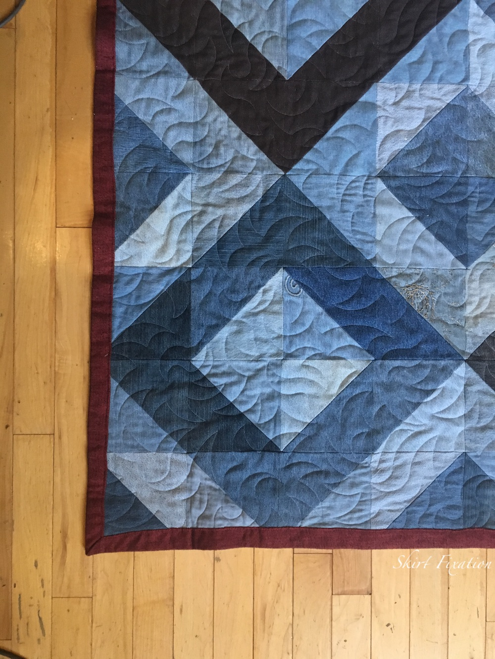 Denim quilt made from old jeans by Skirt Fixation