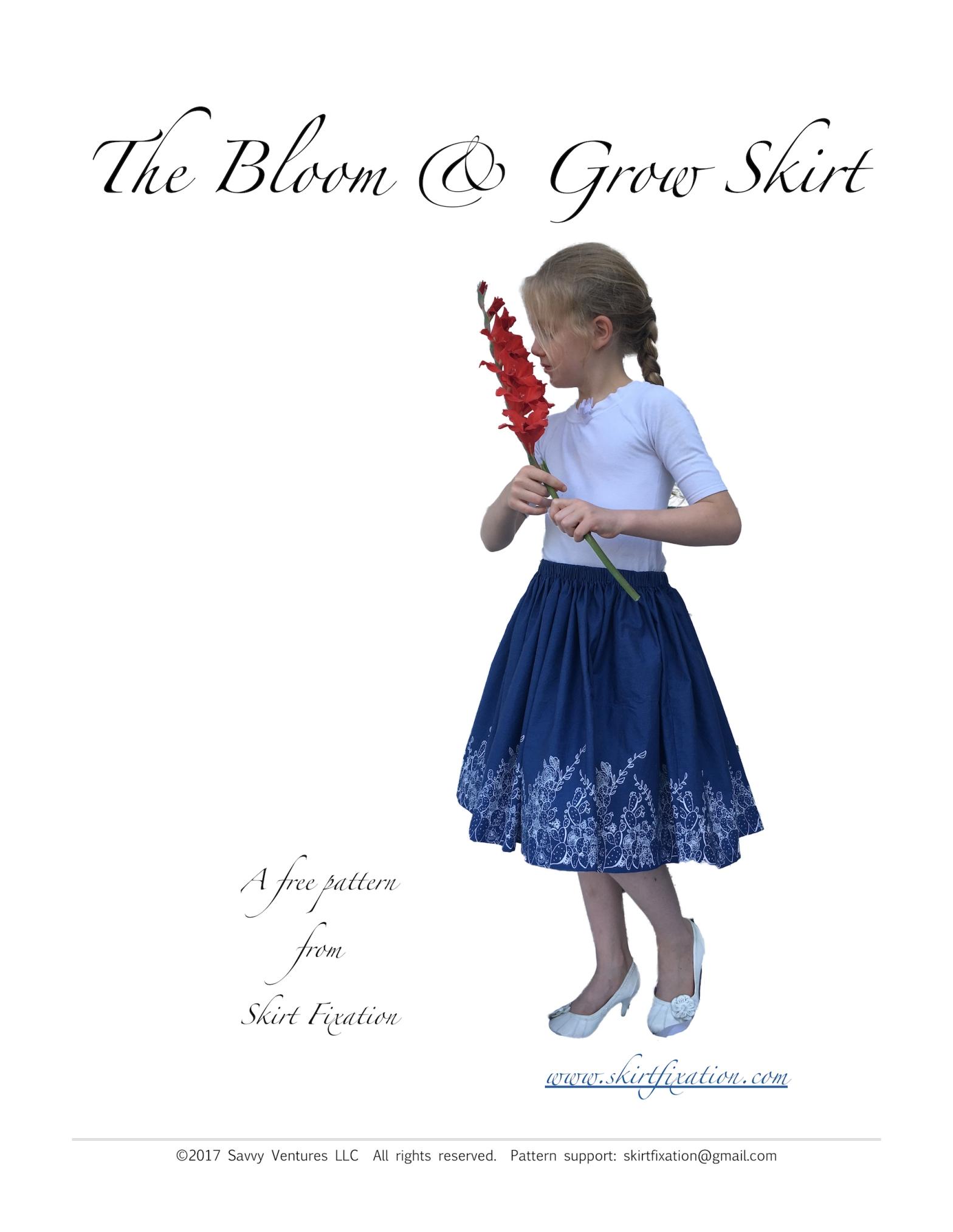 Free girl's Bloom & Grow skirt pattern from Skirt Fixation