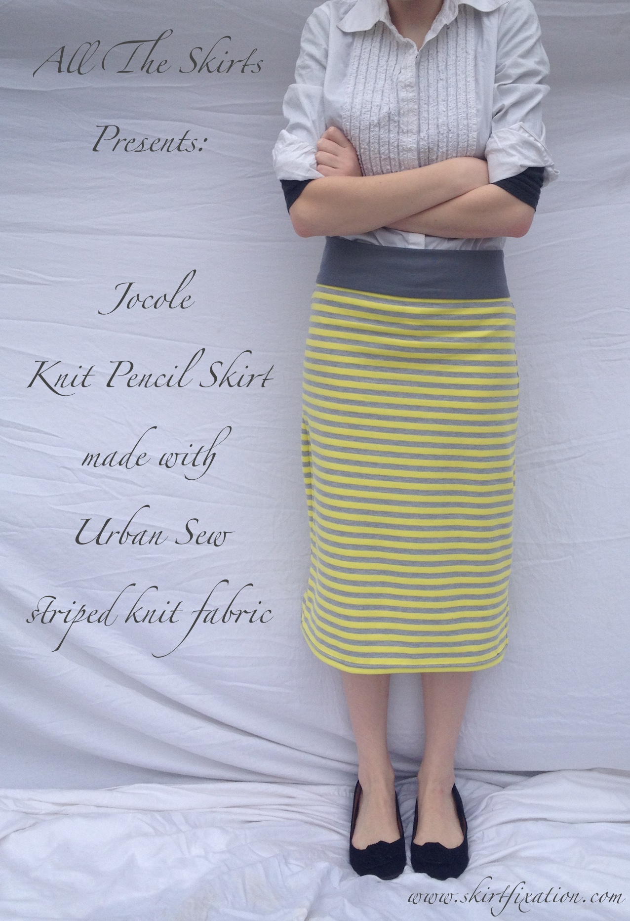 Jocole knit pencil skirt sewn by Skirt Fixation with Urban Sew fabric