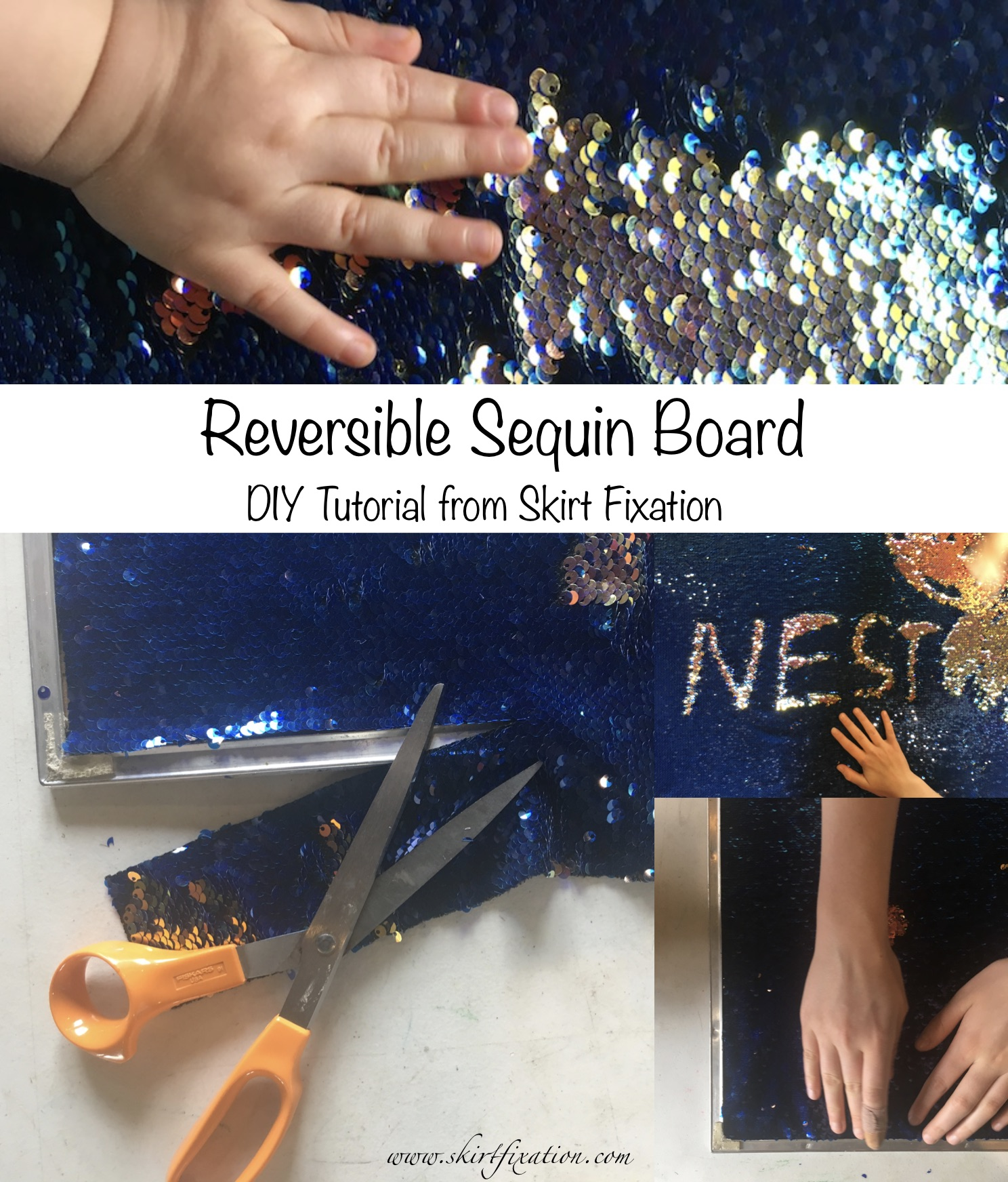DIY reversible sequin board tutorial from Skirt Fixation blog.