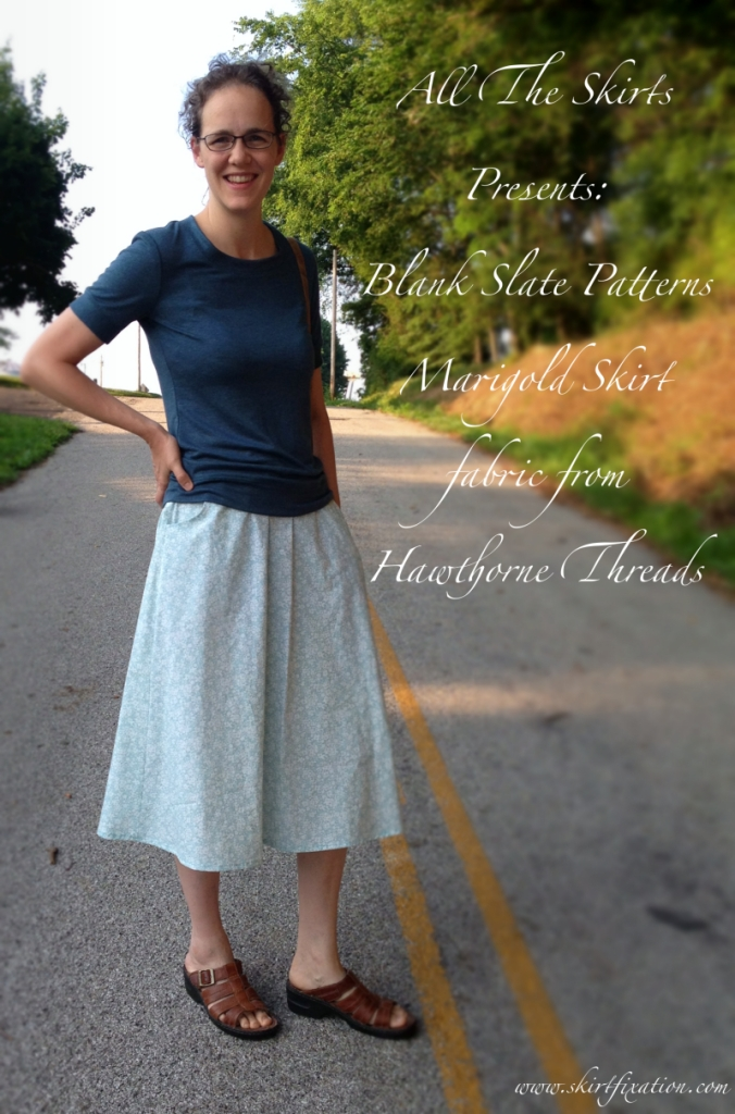 Marigold Skirt by Blank Slate Patterns sewn by Skirt Fixation using fabric from Hawthorne Threads